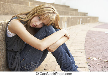 teenage, student, posiedzenie, ruchomy, nieszczęśliwy, telefon, zewnątrz, kolegium, samica, kroki, używając