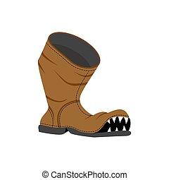 teeth., otwór, stary, potwór, shoes., czyścibut, złamany, boot.