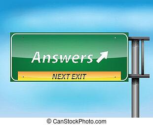 tekst, 'answers', połyskujący, szosa znaczą