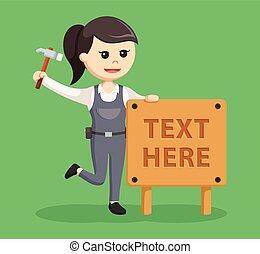 tekst, kobieta, stolarz, drewno znaczą