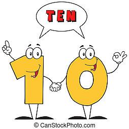 tekst, liczba, dziesięć