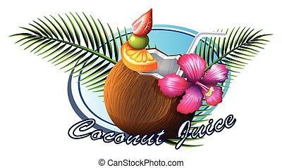 tekst, orzech kokosowy, znak