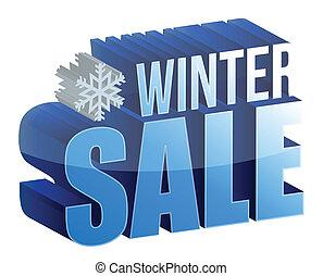 tekst, sprzedaż, zima, ilustracja, 3d