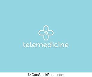 tele, palcowa technologia, telemedicine, służba, medycyna, wifi, medyczny, odizolowany, icon., app., sygnał, konsultacja, krzyż, logotype, wektor, pojęcie, logo
