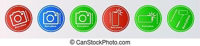 telefon, aparat fotograficzny, najlepszy, wektor, zabroniony, monopod, ikona, trzym!ć, formułować, troska, ruchomy, wziąć, fotografia, wtyka, selfie, twój, znak, smartphone, miejsce, siła robocza, dozwolony