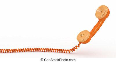 telefon, biały, odizolowany, tło, reciever