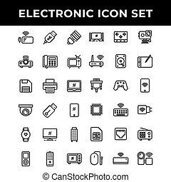telefon, ikona, elektronowy, bank, obejmować, moc, komplet, gracz, piec, jazda