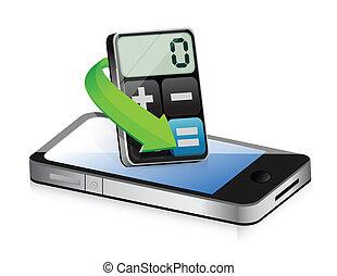 telefon, kalkulator, nowoczesny, apps