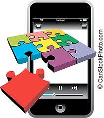 telefon, komórka, nowoczesny, odizolowany