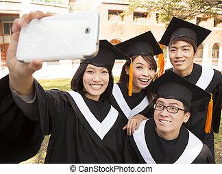 telefon, komórka, obraz, grupa, absolwenci, wpływy