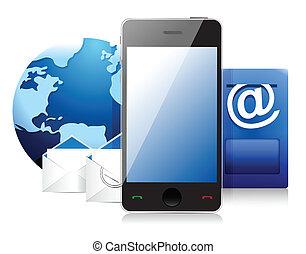telefon, komórka, poczta