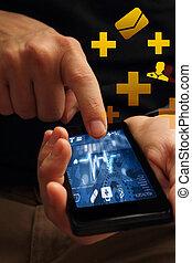 telefon, medyczny, app
