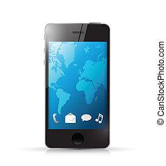 telefon, nowoczesny, ilustracja, ikony