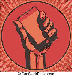 telefon, nowoczesny, komórka