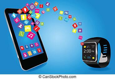 telefon, smartwatch, mądry