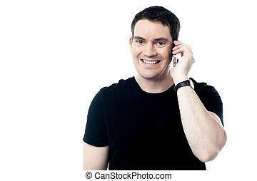 telefon, uśmiechnięty człowiek, przypadkowy, powołanie