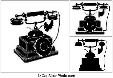 telefon, white..., retro, odizolowany