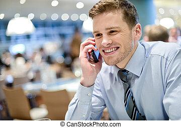 telefon, wykonawca, młody, mówiąc