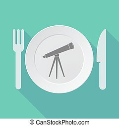 teleskop, długi, zastawa stołowa, wektor, ilustracja, cień
