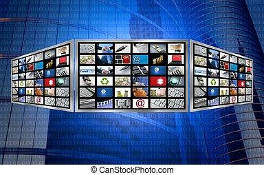 telewizja, pojęcie, ekran, multimedia, globalny, tech, 3d