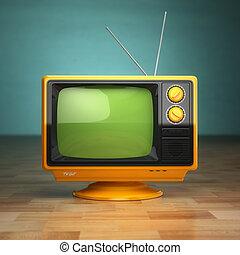 telewizja, telewizja, rocznik wina, concept., tło., zielony, retro