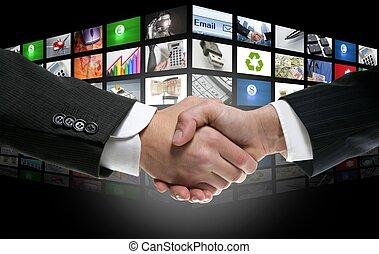 telewizja, wiek, kanały, tło, cyfrowy, futurystyczny