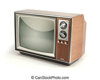 telewizor, telewizja, rocznik wina, concept., odizolowany, komunikacja, tło., media, biały