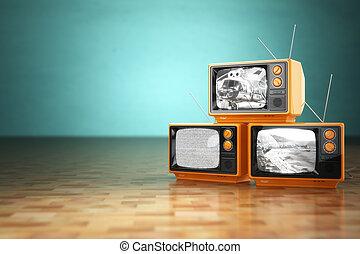telewizor, telewizja, rocznik wina, concept., zielony, retro, backg, stóg