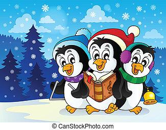 temat, 2, pingwiny, wizerunek, boże narodzenie