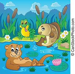 temat, fauna, 2, rzeka, wizerunek