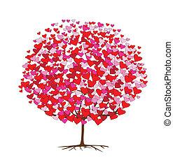 temat, miłość, drzewa, valentine, serca