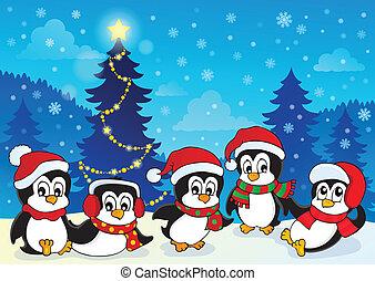 temat, pingwiny, zima, 4