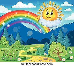 temat, radosny, wiosna, słońce