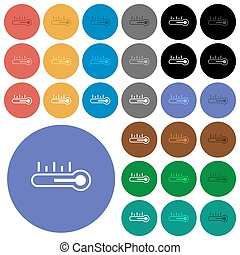 temperatura, ikony, barwny, okrągły, płaski, termometr, multi, środek