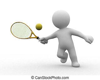 tenis, 3d, ludzie