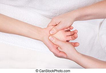 terapeuta, dyplomowany, dłoń, masaż, terapeutyczny