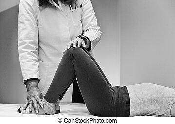 terapeuta, fizyczny, pracujący, dziecko
