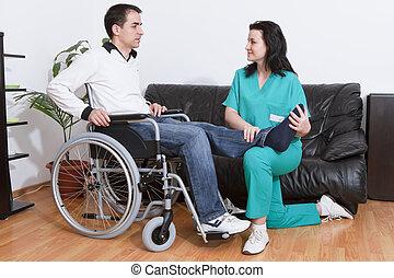 terapeuta, pacjent, pracujący, fizyczny