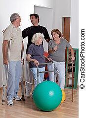 terapeuta, pacjent, samiec, fizyczny