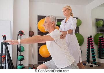 terapeuta, samica, pracownia, pacjent, fizyczny, pracujący, marynarka