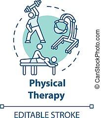 terapia, fizyczny, pojęcie, ikona