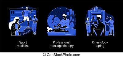 terapia, fizyczny, pojęcie, illustrations., abstrakcyjny, wektor