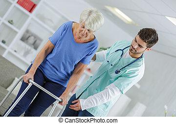 terapia, pieszy, senior