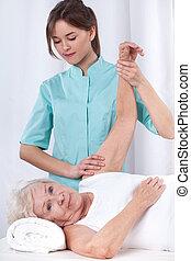 terapia, ręka, fizyczny