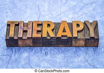 terapia, typ, drewno, słowo