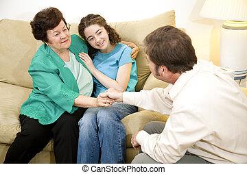 terapia, wynik, -, rodzina, dodatni