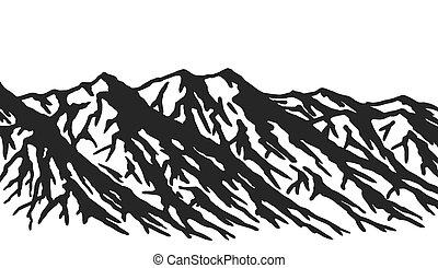 teren górzysty, biały, odizolowany, tło