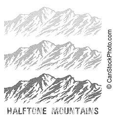 teren górzysty, set., halftone
