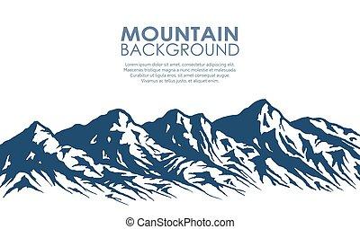 teren górzysty, sylwetka, odizolowany, white.