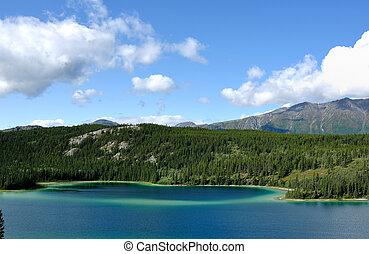 terytorium, yukon, niebo, jezioro, szmaragd, kanada, góry